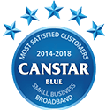 2014 - 2018 Canstar Blue's Most Satisfied Customers award for Small Business Broadband