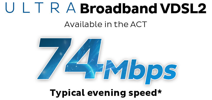 ULTRA Broadband VDSL2. Available in the ACT. 74Mbps Typical Evening Speed.