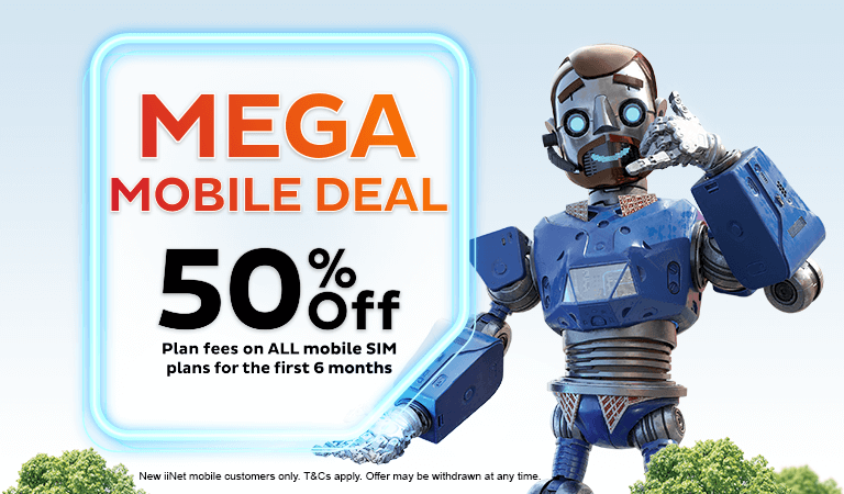 Mega Mobile Deal - 50% off plan fees on all mobile SIM plans for first 6 months