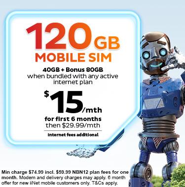 Mega Mobile Bundle - Extra 80GB Data on iiNet 40GB SIM plan with any active iiNet internet plan.
