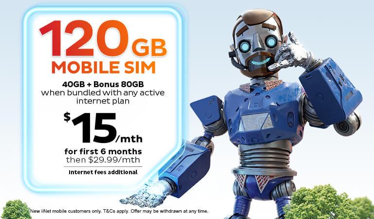 Mega Mobile Bundle - Extra 80GB Data on iiNet 40GB SIM plan when bundled with any active iiNet internet plan.