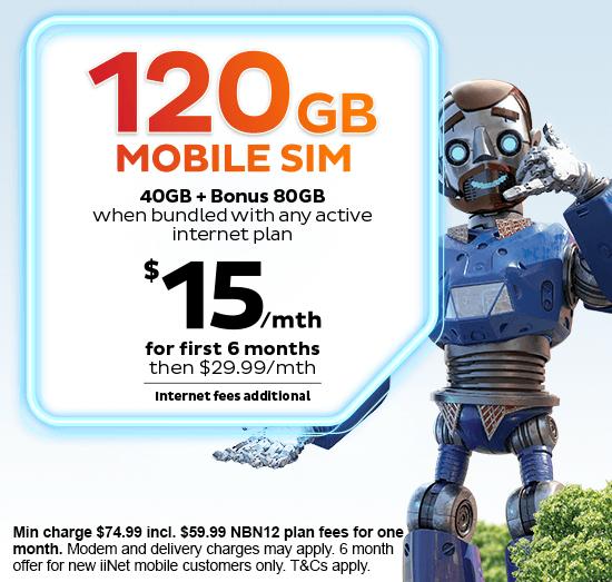 Mega Mobile Bundle - Extra 80GB Data on iiNet Large Mobile Plans with any active iiNet internet plan.