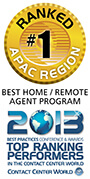 Best Home/Remote Agent category in the Contact Centre World Awards, APAC division 2013